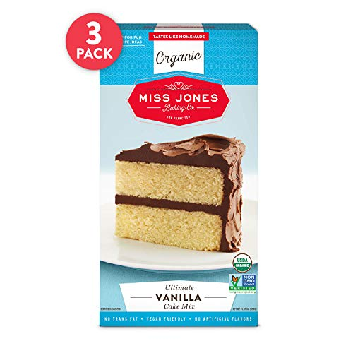Miss Jones Baking Organic Yellow Cake and Cupcake Mix, Non-GMO, Vegan-Friendly, Moist and Fluffy: Vanilla (Pack of 3)