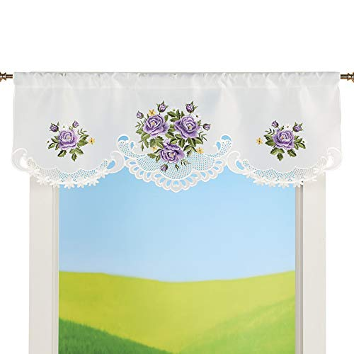 Collections Etc Charming Purple Roses Cutout Embroidered Window Valance - Cute Home Decor Accessories ()