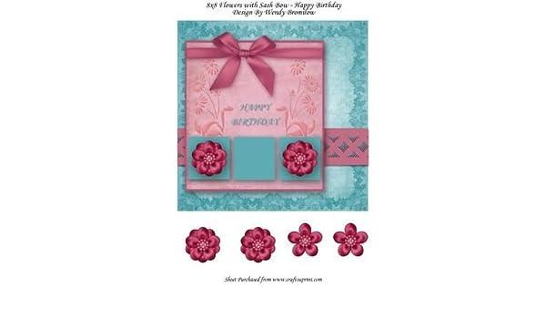 8 x 8 flores con banda cinta y lazo - feliz cumpleaños por ...