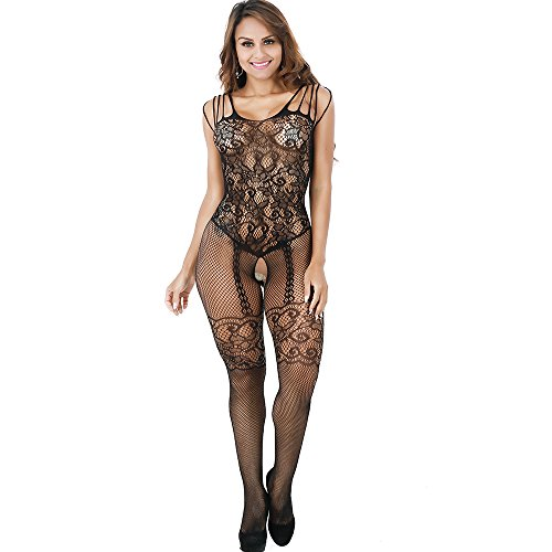 Lace Stretch Bodysuit - Aomtelove Sexy Women Lace Lingerie Teddy Stretch Fishnet Floral Crotchless Bodystockings Babydoll Open Crotch Tights Bodysuits Black