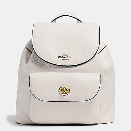 COACH MINI BILLIE BACKPACK IN PEBBLE LEATHER IMITATION GOLD/CHALK (Basic Chalk Bag)