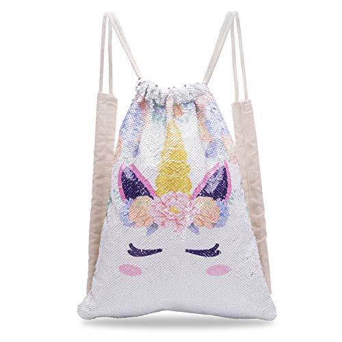 Unicorn Sequin Drawstring Backpack Magic Reversible Flip Glitter Mermaid Sequin Rainbow Bag Gym School Backpack-Unicorn Gift for Girls Kids Women (White Unicorn)