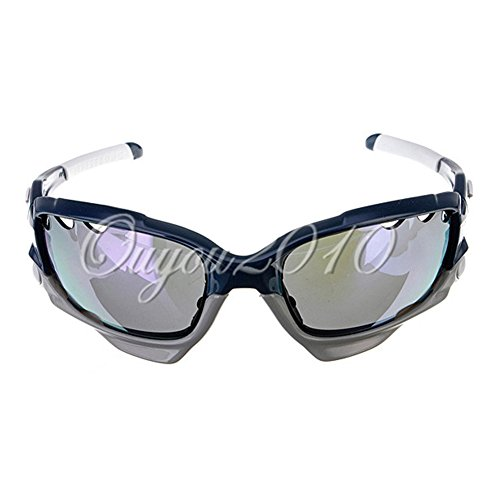 Blue UV400 Cycling Riding Bicycle Sports Skiing Protective Goggle SunGlasses W/3 lens