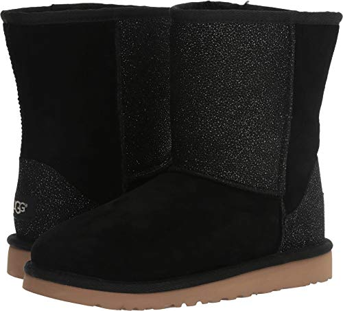 UGG Children's Classic Short serein Big Kids,Black Shimmer Suede,US 6 M
