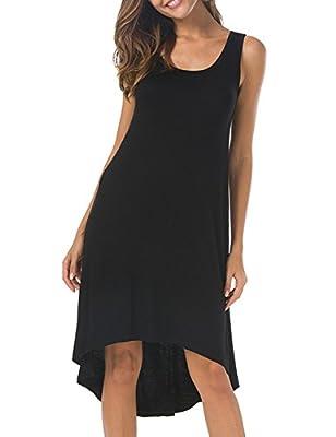 VOBCTY Super Soft Summer Beach Casual High Low Hem Sleeveless Dress