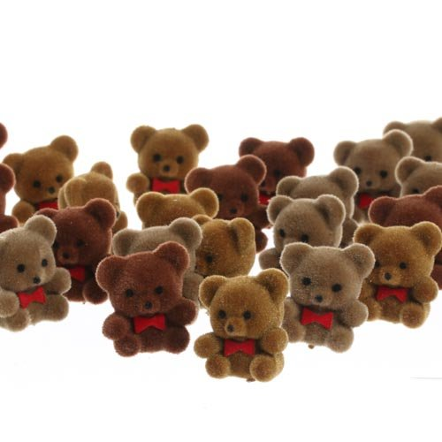 package-of-24-sitting-assorted-brown-flocked-miniature-bears-with-cute-red-bow-ties-for-embellishing