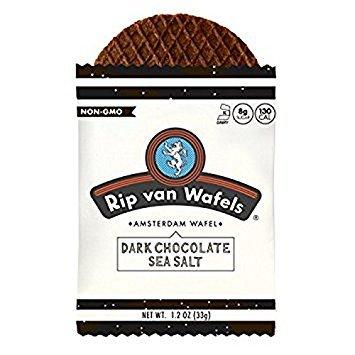 RIP VAN WAFELS, Wafel, Dark Choc Sea Salt, Pack of 6, Size 4/1.2 OZ, (Low Sodium)