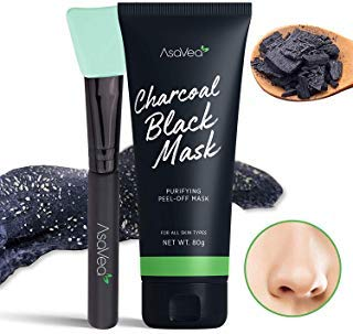 AsaVea Blackhead Peel Off Mask With Brush, Black mask, Blackhead Remover Mask, Purifying Black Peel off Charcoal Mask, Pore Removal Peel off Strip Mask Blackhead Acne Black Mud Facial Mask 80g (Best Pore Peel Off Mask)