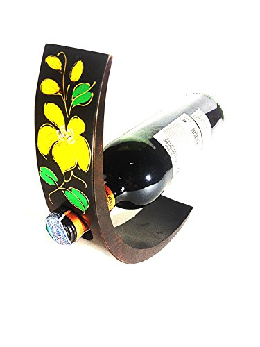 HOT ITEM! - The Curved-Wine Bottle Holder Thai Art (Dark Brown/Thai orchid, Hardwood) by Tony Rong