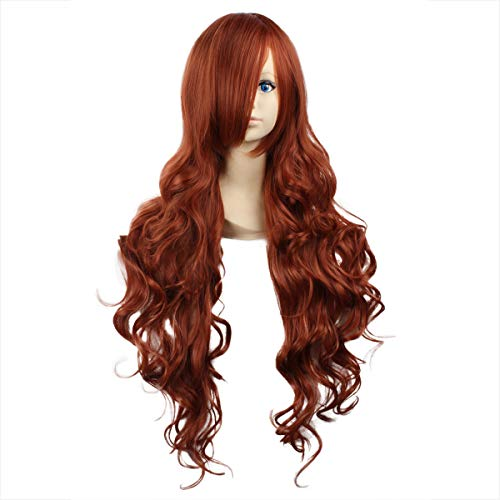 Miss Elegant 32''Long Wavy Cosplay Wig With Inclined Bangs Left Side Parting Lolita Anime Costume Cosplay Wigs NONE Lace Girls Daily Party Weeding Halloween Women Girls Heat Resistant (Dark -