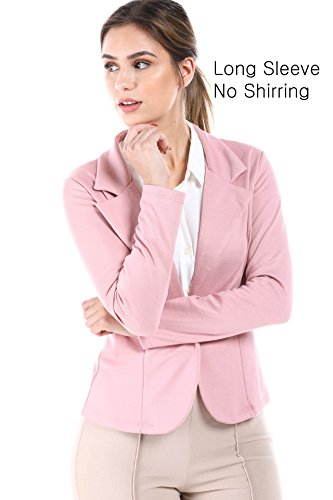 - Women's Slim Fit One Button Office Knit Blazer Jacket,Made in USA (Small-3XL) (Large, LongSleevePink)