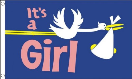 ITS A GIRL FLAG 3' x 5' - IT'S A GIRL- BIRTH FLAGS 90 x 150