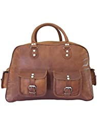 Maison De Cuir 20 Inch Leather Travel Bag Overnight Bag Weekend Luggage Bag