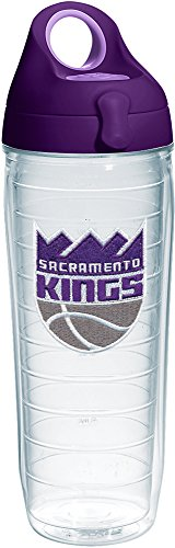 Tervis 1235542 NBA Sacramento Kings Primary Logo Tumbler with Emblem and Purple Lid 24oz Water Bottle, Clear by Tervis