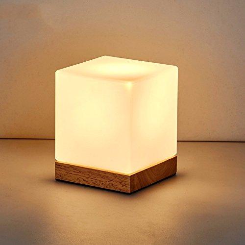 Einfache Schlafzimmer Nachttischlampe, Holz LED Augenschutz Leselampe, 8 W, Dreifarbig variablen LED, 18.