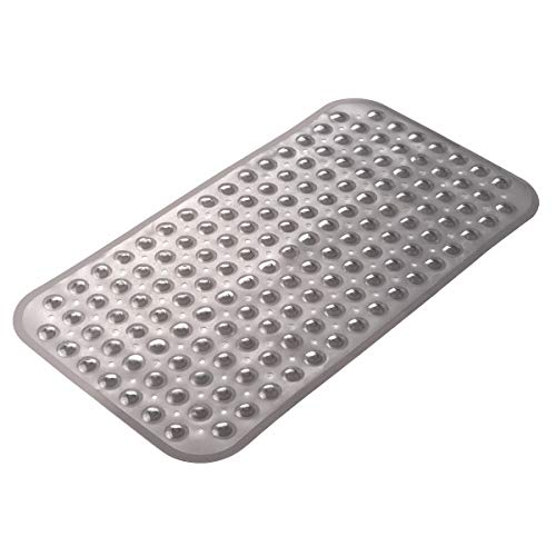 AmazerBath Bath Tub Mat Non-Slip Shower Mats with Suction Cups Machine Washable 27.6 x 15 Inches (Clear Gray)