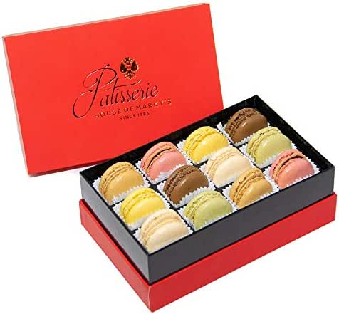French Almond Macarons Gift Box – 12 pcs – Non GMO, Assorted Macaroons Cookies - Imported From France
