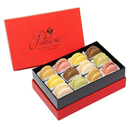 French Almond Macarons Gift Box - 12 pcs - Non GMO, Assorted Macaroons Cookies - Imported From France