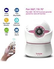 Sumpple Digital Video Baby Monitor with HD Camera 720P, Wired/Wireless WiFi Connection, Two-Way Talk, Pan/Tilt, Temperature/Humidity Detection, Motion Sensor Detection and Sound Alarm, Music Play, View and Control from Iphone/Android App