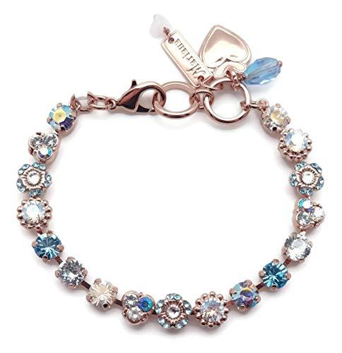 Mariana Italian Ice Swarovski Crystal Rose Goldtone Bracelet Blue Clear Mix Mosaic 125 (Flower Swarovski Ice)