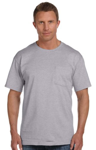 Heavy Cotton Pocket - Fruit of the Loom 100% Heavy Cotton HD Pocket T-Shirt, XL, ATHLETIC HEATHER