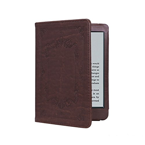 HDE Case for Kindle Paperwhite (2016, 2015, 2013, 2012) - Ultra Slim Cover Auto Sleep/Wake Smart Shell for All-New Amazon Kindle Paperwhite (Fits All Versions) (Vintage Brown) (Case Leather Black Carrying)