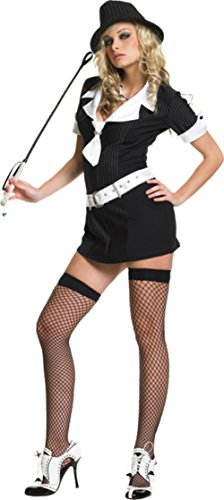 Gangster Moll Plus Costumes (Leg Avenue Womens Gangster Moll Mafia Mobster Outfit Fancy Dress Sexy Costume, L (9-12))