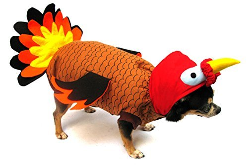 Turkey Deluxe Thanksgiving/Halloween Costume for Dogs by Puppe Love (Size 3 (10.75