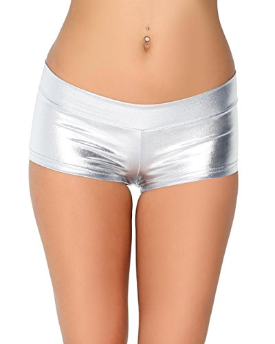 (iHeartRaves Metallic Rave Booty Dance Shorts (Small, Silver))
