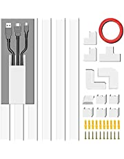 """Cable Concealer, PVC Cord Cover, Large Size Cord Cover Wall,Paintable Cord Hider to Hide Wires for TV and Computers in Home Office White, Cords, or Wires (1.18""""(Accessories Included)"""