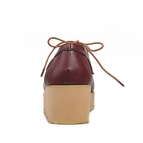 Allhqfashion Donna Materiale Morbido Tacco Chiuso Scarpe Stringate Con Lacci Gattino-tacco Scarpe Marroni