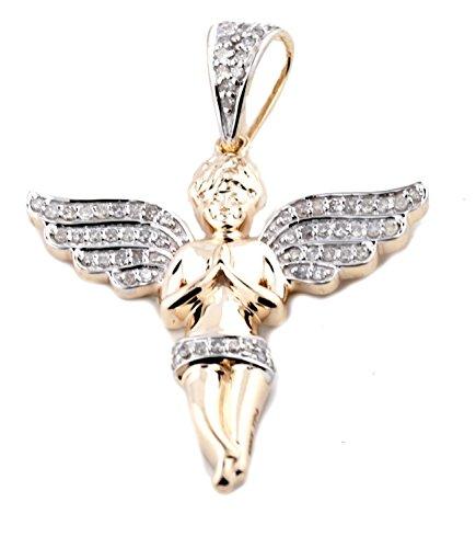 10K Gold Angel Pendant Real Diamond Angel Charm 1/3ctw Diamonds 1.5 Inch Tall Mens or Womens Fashoin ()