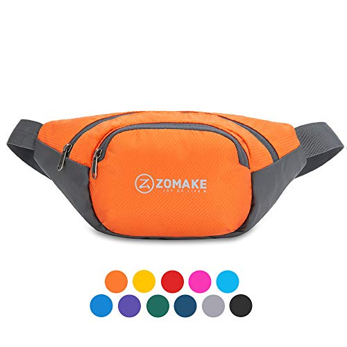ZOMAKE Fanny Pack Water Resistant Waist Bag Hip Bum Bag for Men and Women, Large Compartment with Adjustable Strap for Outdoors Workout Traveling Casual Running Hiking Cycling(Orange)