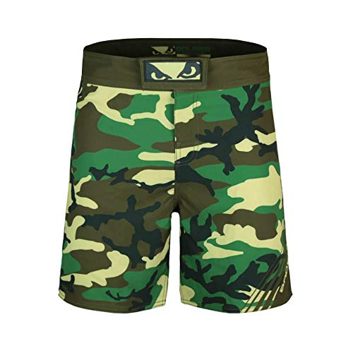 (Bad Boy Soldier Series Bamboo Fiber Fitness Workout Training MMA Mixed Martial Arts Fight Shorts Camo Green X-Large Green -)