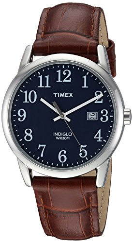 Indiglo Mens Dress Watch - Timex Men's TW2R63800 Easy Reader Brown/Silver-Tone/Blue Croco Pattern Leather Strap Watch