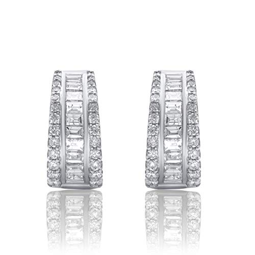 1.00 Carat Natural Diamond Earrings 10K White Gold Round-Shape (H-I Color, I2 Clarity) and Baguette-Shape (G-H Color, I1-I2 Clarity) Diamond Huggie Earrings for Women Diamond Jewelry Gifts for Women