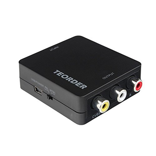 Teorder-HDMI-to-3-RCA-Composite-AV-CVBS-Converter-1080P-Composite-Video-Audio-Adapter-for-Xbox-PS4-PS3-PC-Laptop-TV-STB-VHS-VCR-Camera-DVD-Blu-ray-Player-Support-PAL-NTSC-with-USB-Charge-Cable