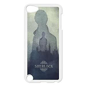Ipod Touch 5 Case, Scratch Resistant Sherlock Silhouette London in the Fog Case For Ipod Touch 5 {White}