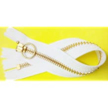 """ZipperStop Wholesale Authorized Distributor YKK®Sale 10"""" Brass Finished (Special Custom) YKK Zipper Number 5 with Notch Lock Ring Slider Closed Bottom Color White (1 Zipper/pack)"""