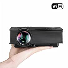Portable WiFi Projector, Hizek 1200 Lumens LED Wireless Home Theater, Support Phone/Laptop/PC/SD Card/Play Station/TV Box/Xbox/USB Disk (Warranty Included)