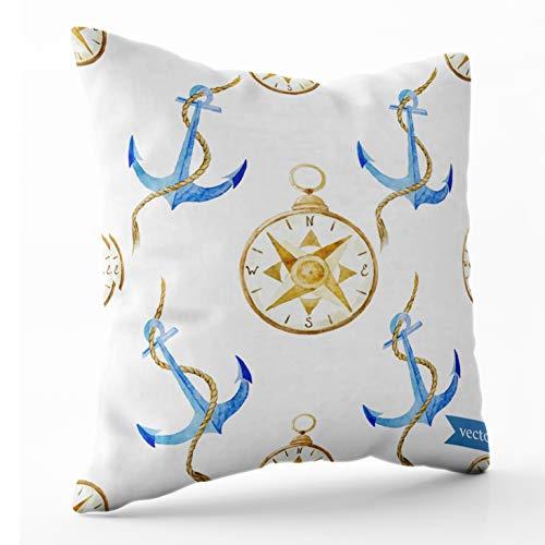 Shorping Nap Pillow Case for Couch, Zippered Pillowcases 20x20 Pillowcase Throw Pillow Covers Watercolor Anchor Pattern Wallpaper Vector Compass Seamless sea for Home Décor ()