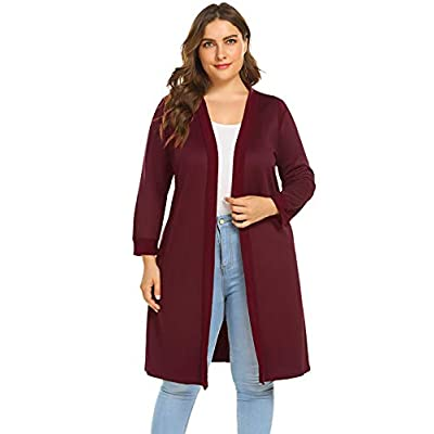 IN'VOLAND Women' Plus Size Long Sleeve Open Front Patchwork Casual Cardigan(L-4XL) Red at  Women's Clothing store