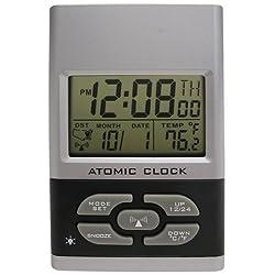 Advance Time Technology Atomic Travel Alarm Clock, Silver