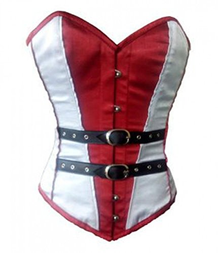 Red White Satin Black Leather Goth Halloween Party Prom Costume Overbust Corset]()