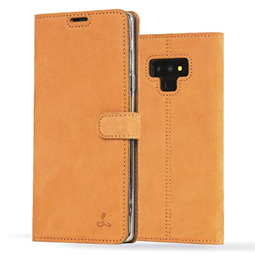 Samsung Galaxy Note 9 Case, Luxury Genuine Leather Wallet with Viewing Stand and Card Slots, Flip Cover Gift Boxed and Handmade in Europe by Snakehive for Samsung Galaxy Note 9 - Orange