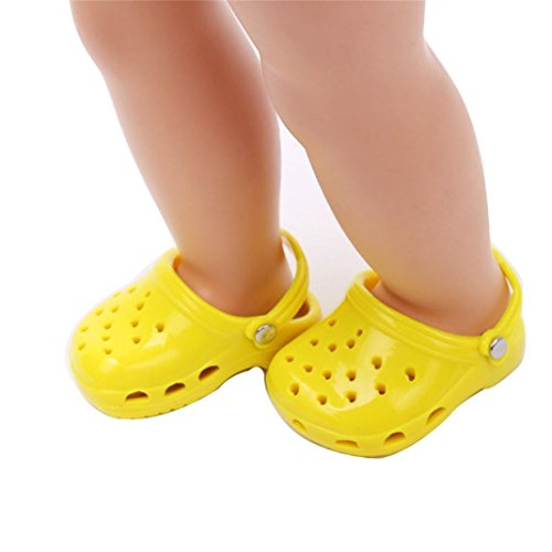 18 Inch Doll Cute Doll Shoes Candy Color Slippers Fits Our Generation American Girl Dolls (Yellow)