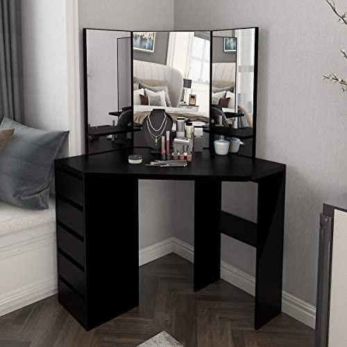 Corner Vanity Table Makeup Desk with Three-Fold Mirror and 5 Drawers Wooden Bedroom Dressing Table Black