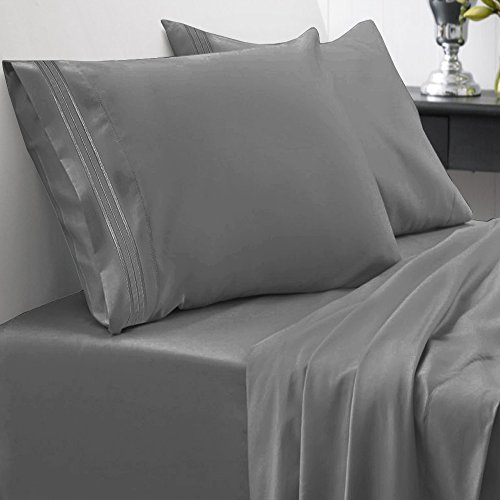 Price comparison product image Sweet Home Collection 1800 Thread Count Egyptian Quality Brushed Microfiber 4 Piece Deep Pocket Bed Sheet Set, King, Gray