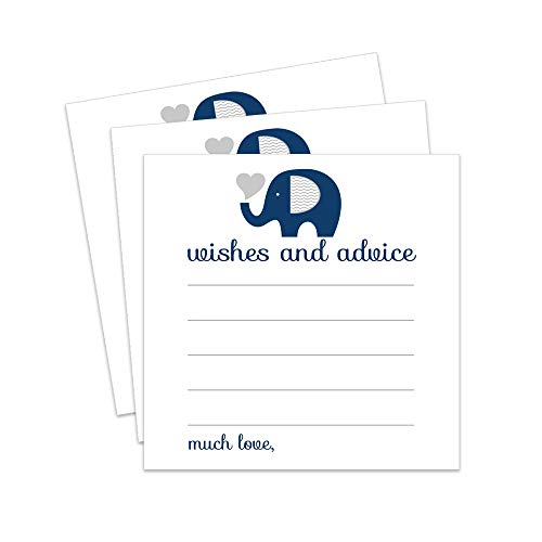 Paper Clever Party Navy Elephant Advice and Wishes Cards - 25 Pack ()
