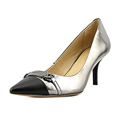 COACH Womens Lauri Pointed Toe Classic Pumps, Gunmetal/Black, Size 11.0